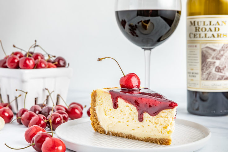Red Wine Cherry Glazed Cheesecake