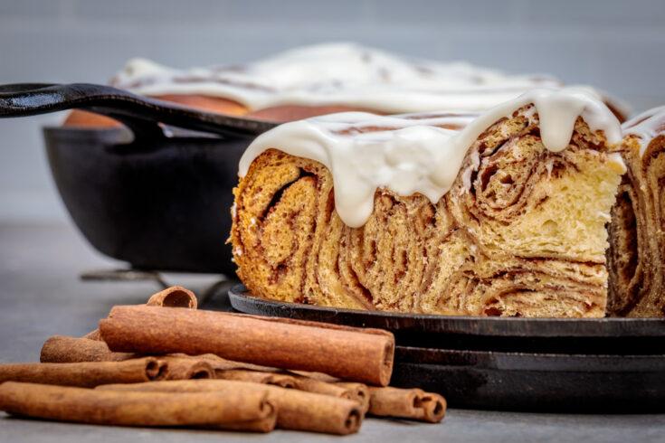 Skillet Swirled Cinnamon Roll