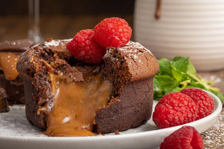 Molten Chocolate Caramel Truffle Lava Cakes